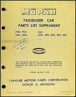 1952 Mopar Parts Book Supplement Original