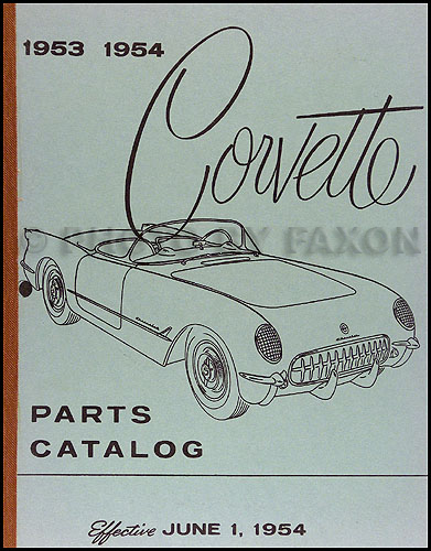 1953-1954 Chevrolet Corvette Parts Book Reprint