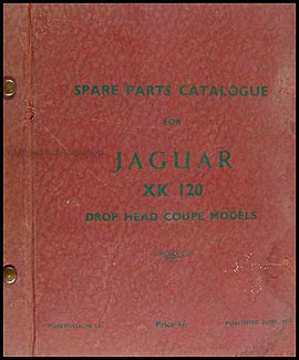 1953-1954 Jaguar XK120 Convertible Parts Book Original Supplement