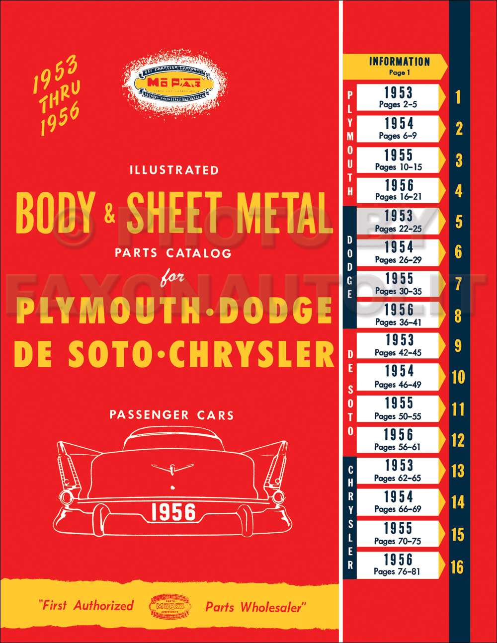 1953-1956 Mopar Body & Sheet Metal Parts Book Reprint