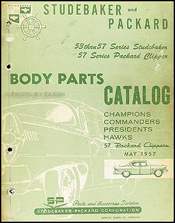 1953-1957 Studebaker & Packard Body Parts Catalog Original