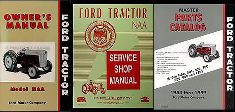 1953-1955 Ford NAA Tractor 3 Manual SET Reprint