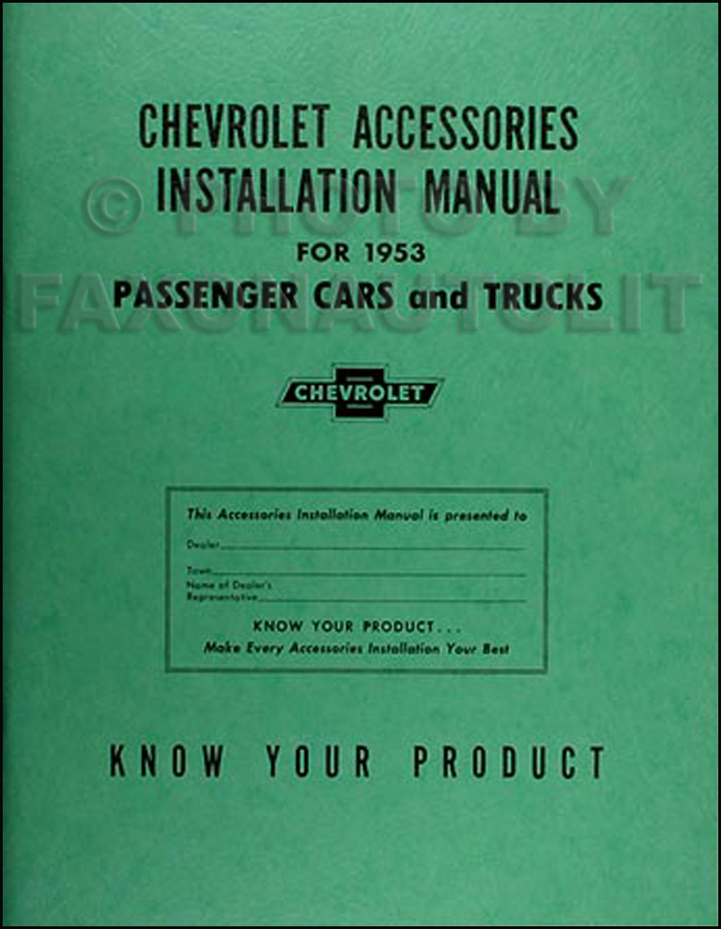 1953 Chevrolet Accessories Installation Reprint Manual Chevy Car Truck