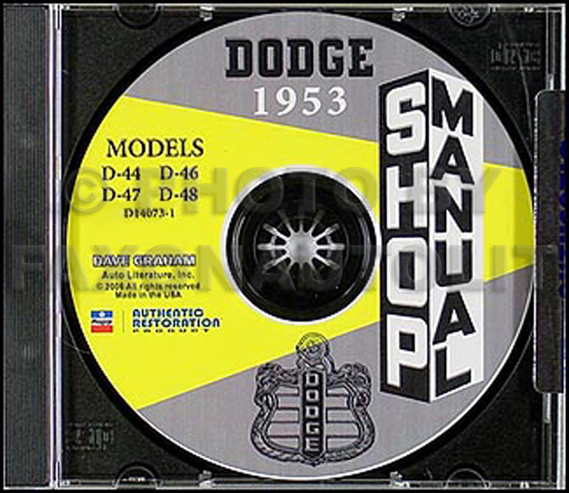 1953 Dodge Car Shop Manual on CD-ROM