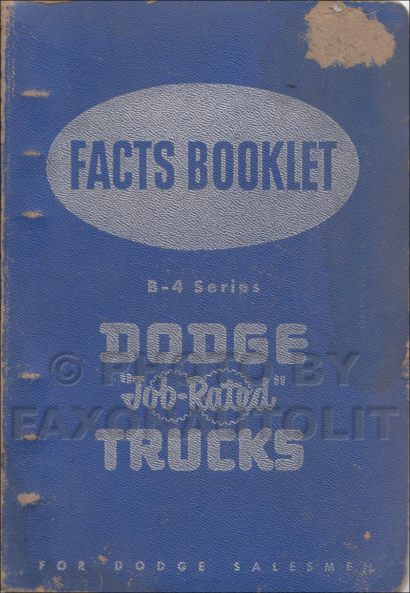 1953 Dodge Truck Data Book Original