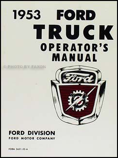 1953 Ford Pickup & Truck Owner's Manual Reprint