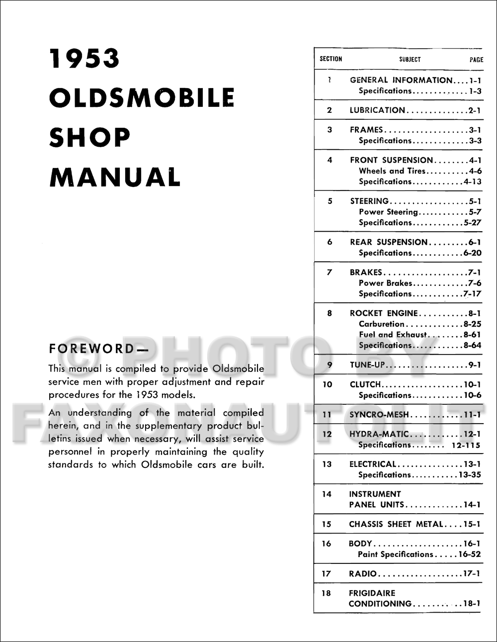 1953 Oldsmobile Shop Manual Reprint. click on thumbnail to zoom