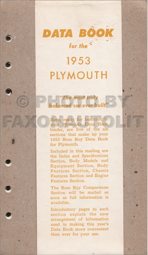 1953 Plymouth Data Book Original