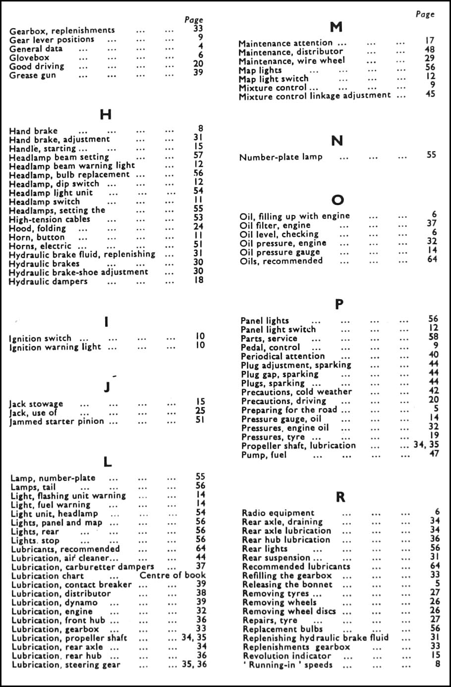 1954 1955 Mg Midget Tf Owners Manual Reprint Alternator Wiring Diagram Table Of Contents Page 2