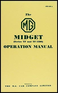 1954-1955 MG Midget TF Owner's Manual Reprint