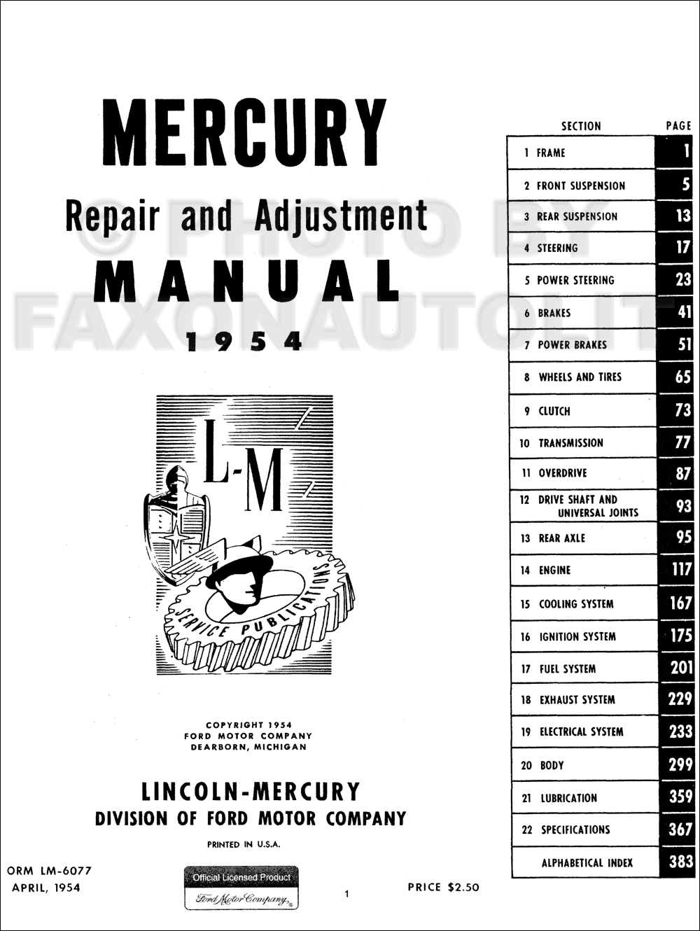 1954 Mercury Repair Shop Manual Original Monterey