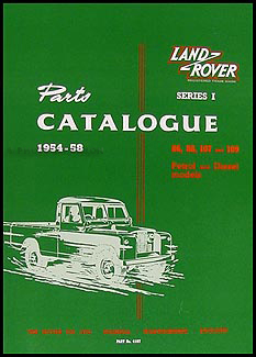 1954-1958 Land Rover Series I Parts Book Reprint