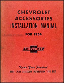 1954 Chevrolet Accessories Installation Original Manual
