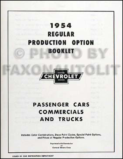 1954 Chevrolet Reprint Options RPO Book 54 Car, Corvette, Truck