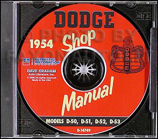 1954 Dodge Car Shop Manual on CD-ROM 54