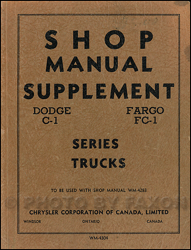 1954-1955 Dodge Truck & Fargo CANADIAN Repair Manual Original