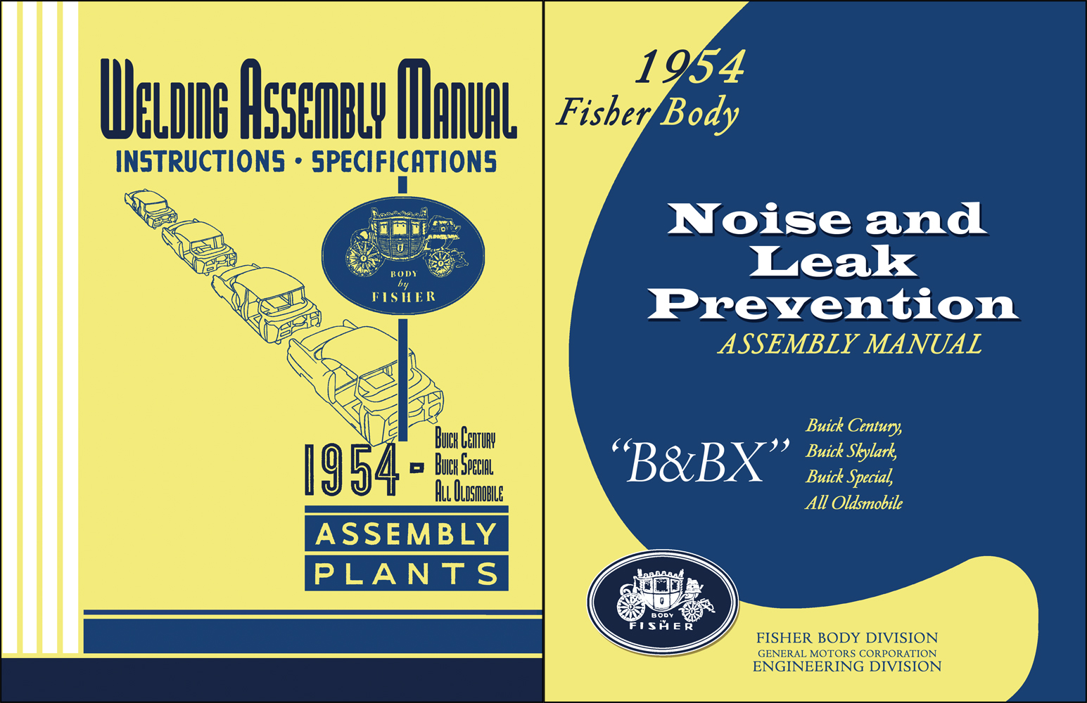 1954 Fisher Body Assembly Manual Set Noise & Leak Prevention and Welding Reprints