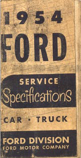 1954 Ford Car and Truck Service Specs Manual Original