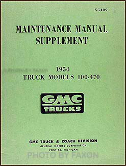 1954 GMC 100-470 Shop Manual Original Supplement
