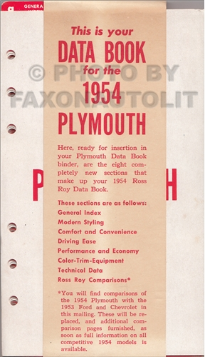 1954 Plymouth Data Book Original