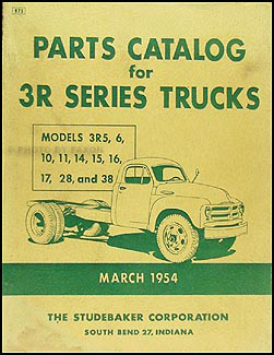 1954 Studebaker 3R Pickup & Truck Parts Book Original