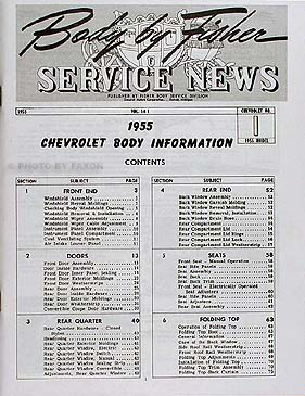 1955 Chevrolet Body Manual Set Fisher Body Service News #1 #2 Reprint