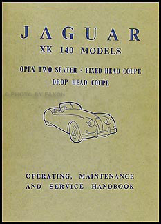 1954-1957 Jaguar XK140 Owner's Manual Original