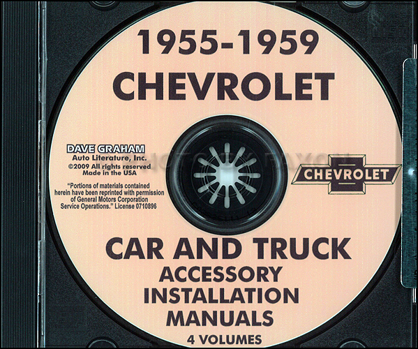 1955-1959 Chevrolet Car & Truck Accessory Installation Manuals on CD-ROM