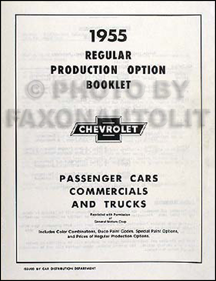 1955 Chevrolet Reprint Options & Accessories List