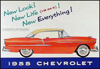 1955 Chevrolet Car Color Sales Folder Reprint for All Models
