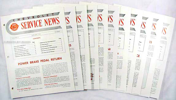 1955 Chevrolet Service News reprint (9 issues on 1955, 2 on 1956)