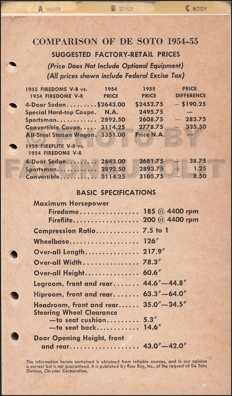 1955 Desoto Data Book Original