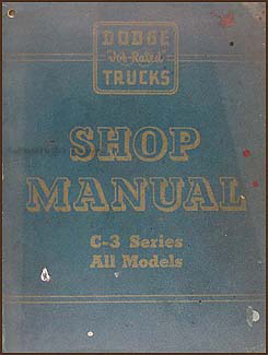 1955-1956 Dodge C-3 Truck Shop Manual Original Supplement
