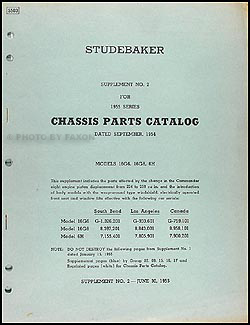 1955 Studebaker Commander & President Chassis Parts Catalog Supp. #2