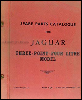 1956-1958 Jaguar 3.4 Litre Parts Book Original