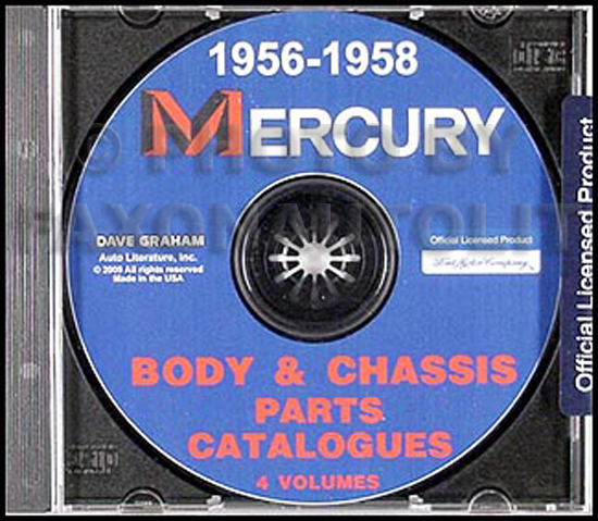 1956-1958 Mercury Body and Chassis Parts Book on CD-ROM