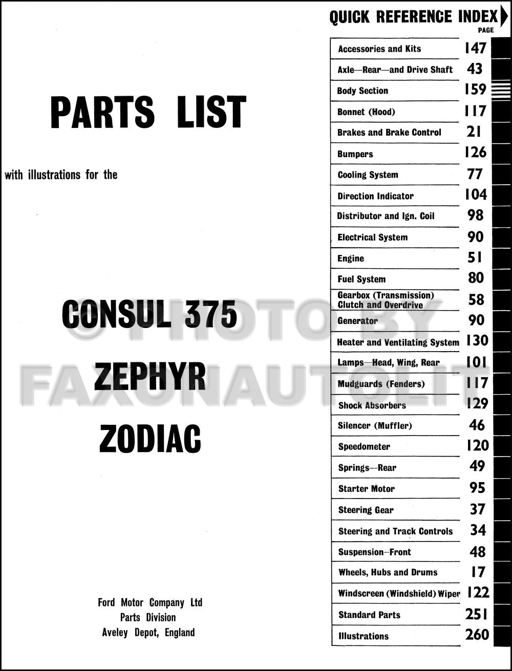 1956-1962 Ford Parts Catalog Original Consul, Zephyr, and Zodiac