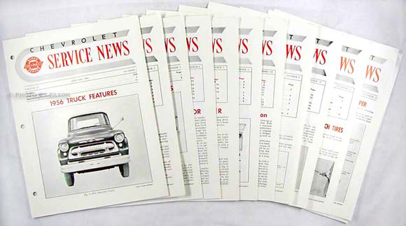 1956 Chevrolet Service News reprint (9 issues on 1956, 3 on 1957)