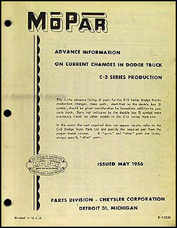 1956 Dodge Truck Original Parts Book Mid-Year Supplement