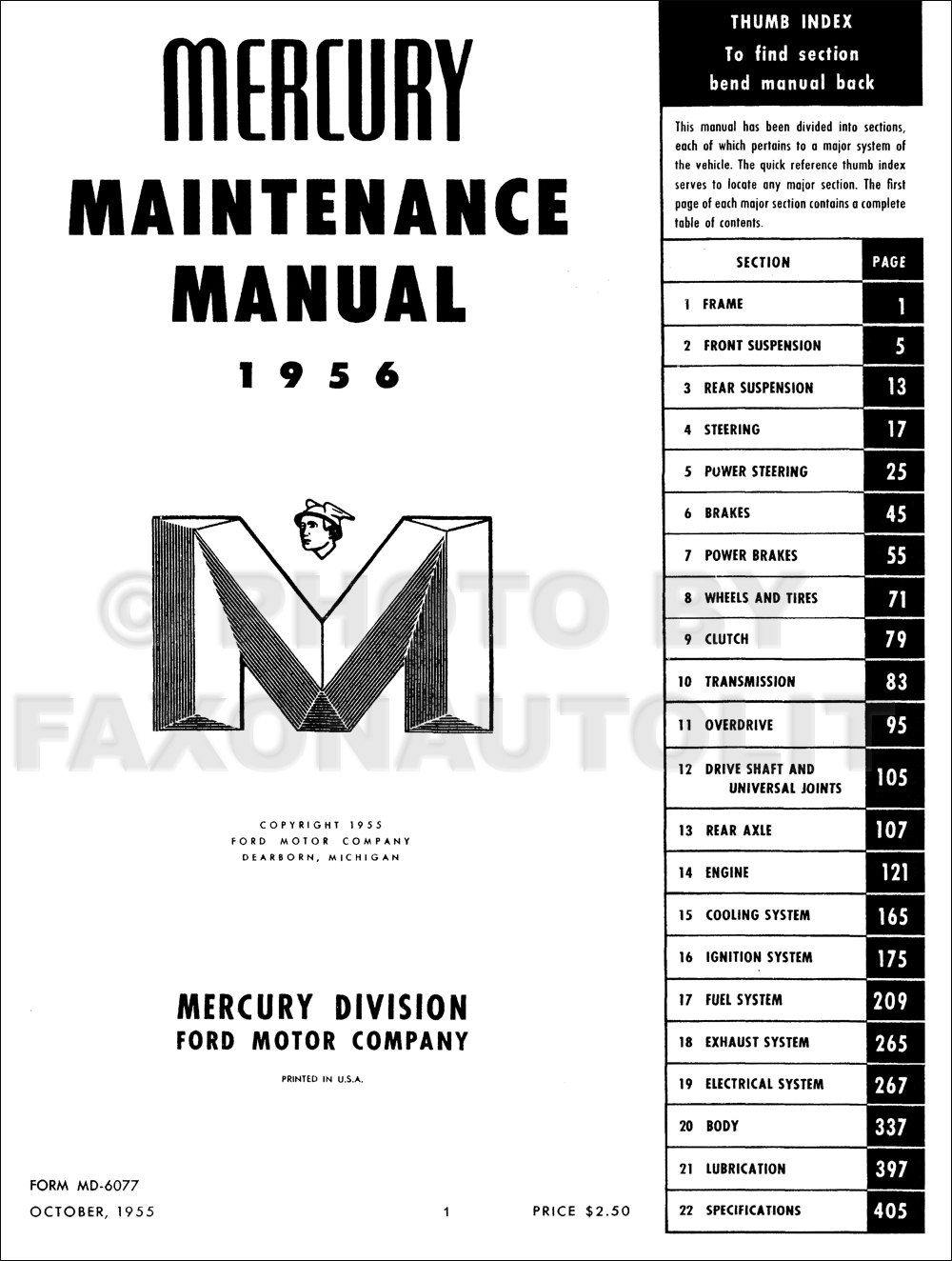 1956 Mercury Wiring Diagram Repair Shop Manual Original Table Of Contents