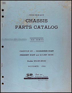 1956 Studebaker Car Preliminary Chassis Parts Catalog