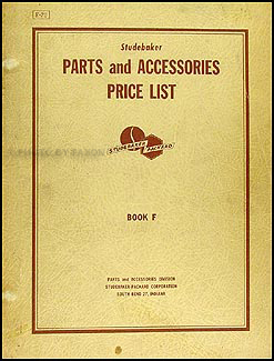 1953-1956 Studebaker Parts Price List Manual Original