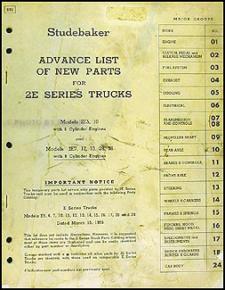 1956 Studebaker 2E Truck Preliminary Parts Book Original