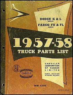 1957 1958 Canadian Dodge Truck and Fargo Parts Book Original