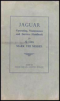 1957-1958 Jaguar Mark VIII Owner's Manual Original