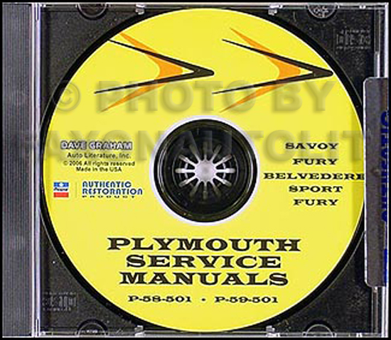1957-1958-1959 Plymouth Repair Shop Manual CD Plaza, Savoy, Belvedere, Fury
