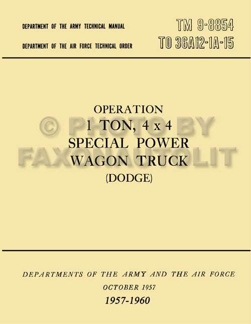 1957-1960 Dodge 1-ton Power Wagon Operation and Maintenance Manual Reprint TM 9-8854