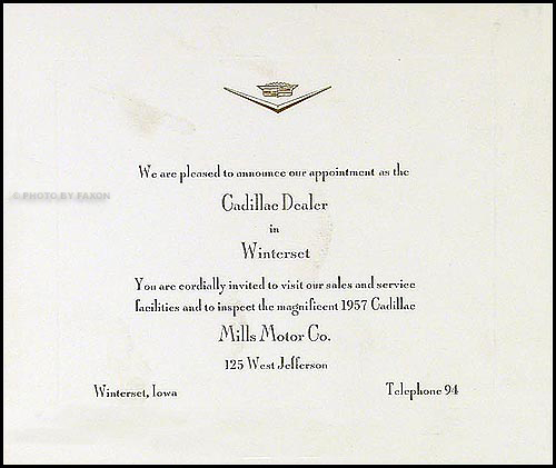 1957 Cadillac Invitation Original