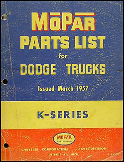 1957 Dodge Pickup and Truck Parts Book Original