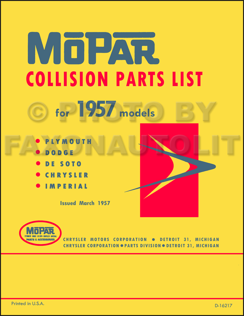 1957 MoPar Body Collision Parts Book Reprint